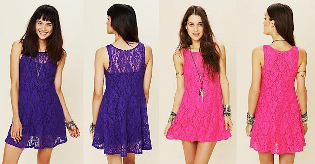 2 vestidos casuales con encajes en violeta y rozado