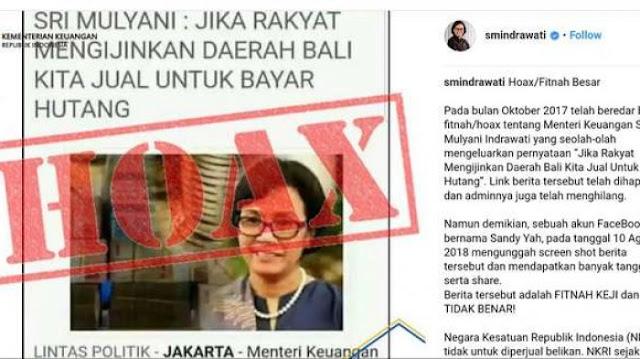 Diserang Hoax Jual Pulau Bali, Sri Mulyani Akan Polisikan Pemilik Akun Sandy Yah