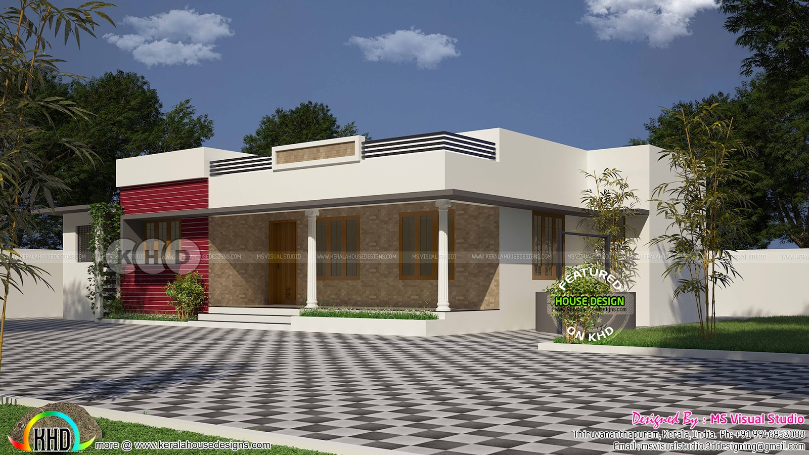 1241 square feet flat roof single floor home plan