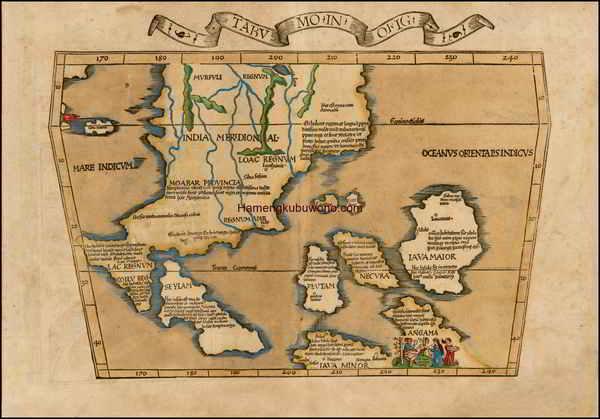 Gambar Peta Asia Tenggara Kuno - Tabu. Mo. In. Orig.  Karya Laurent Fries 1522