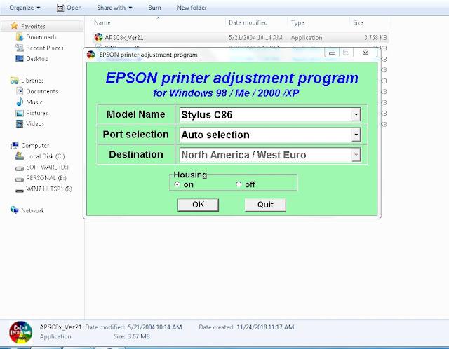Resetter Epson Stylus C86