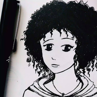 Anime girl with curly hair in black and white