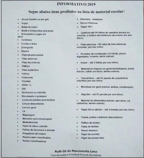 Procon divulga lista com materiais que não podem ser solicitados pelas escolas