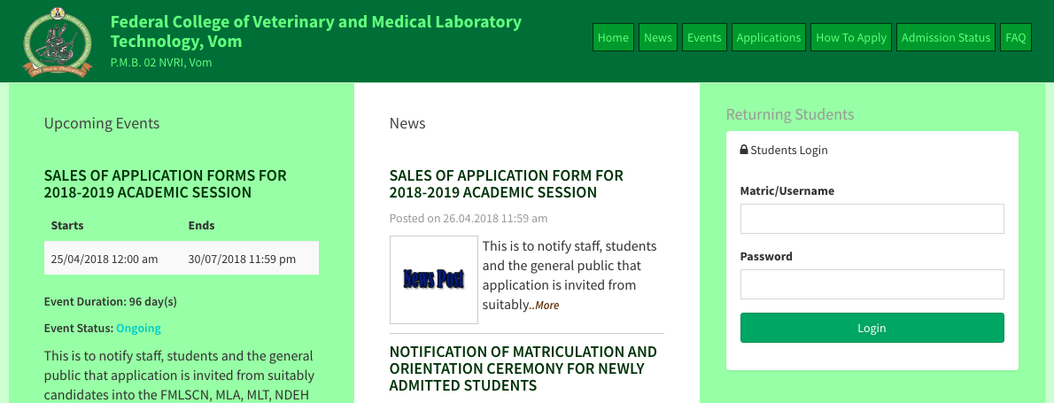 Federal College of Veterinary and Medical Laboratory Technology Admission Form 2018