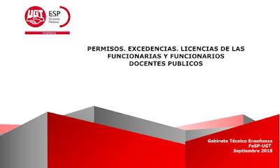 Permisos docentes, excedencias docentes, licencias docentes, documento Enseñanza UGT, Enseñanza UGT Ceuta