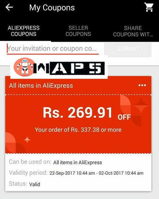 Buy any product of 300 Rs at 64 Rs from AliExpress (Rs 260 fixed discount)