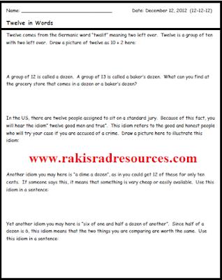 Free twelve, twelve, twelve activity sheet to help your students explore the number twelve - from Raki's Rad Resources.