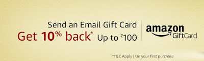 Amazon Gift Card Offer- 10% Cashback on purchase of Amazon Email Gift Cards Max cashback up to Rs. 100