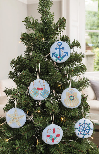 Nautical / Beach Christmas Ornaments for The World of Cross Stitching Magazine