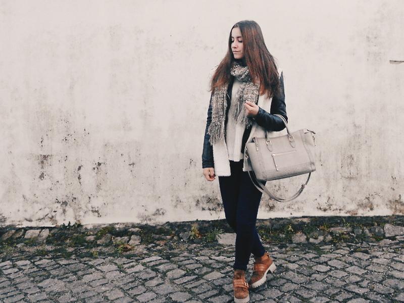 OOTD \ Leather jacket & white vest