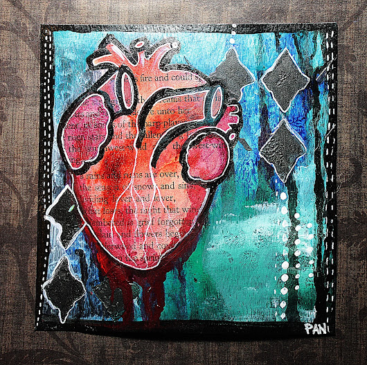 Anatomical Heart Grungy Mixed Media Painting Tutorial!