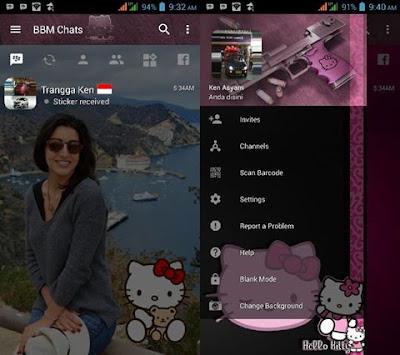 BBM Mod Hello Kitty Dark Style Change Background V3.2.0.6 Apk