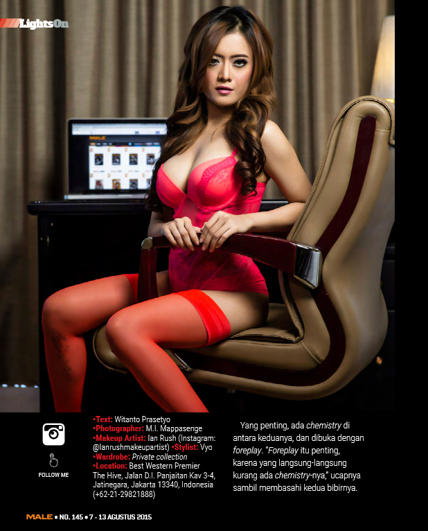 Imel Izumi Red Lingerie on Male Magazine Edisi 145 07 AUG 2015 - 14 AUG 2015