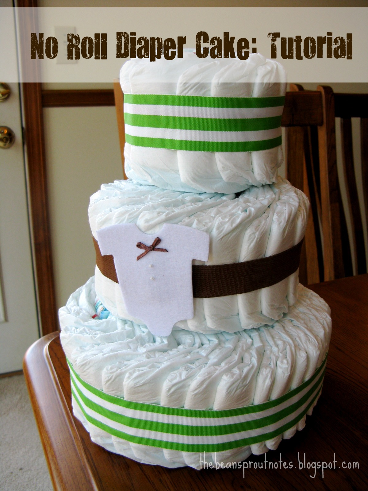 The Bean Sprout Notes No Roll Diaper Cake Tutorial