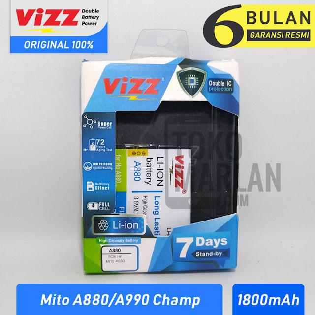Spek & Harga Jual Baterai Vizz Mito A880 A990 Champ BA-00132 Double Power