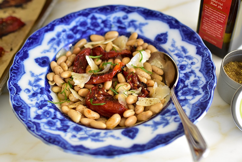 White Beans with Za'atar Roasted Tomatoes and Olive Oil