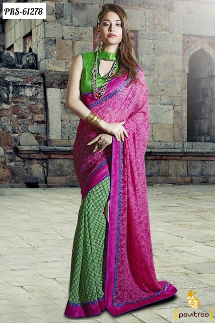 Fancy pink green color georgette casual saree for office birthday party wear social gathering online shopping at low cost in India