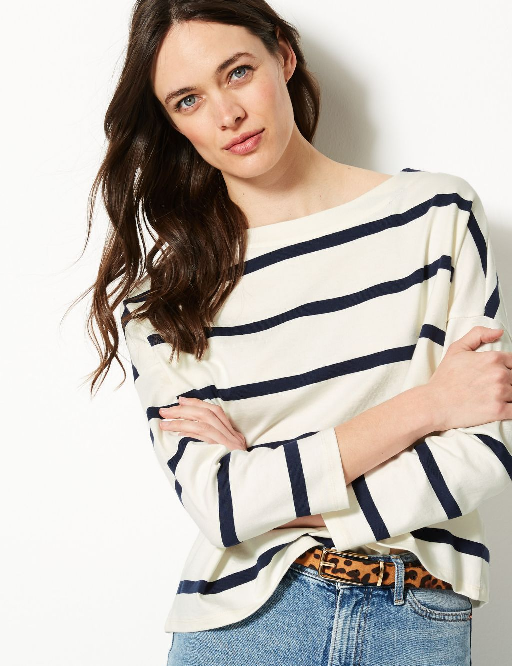 marks and spencer pure cotton striped slash neck sweatshirt