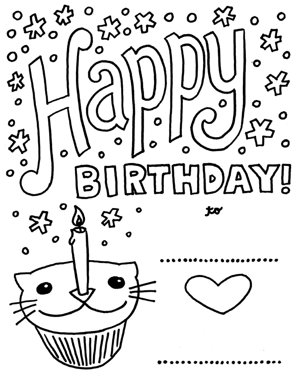 funny birthday coloring pages | FUN & LEARN : Free worksheets for kid: Free Happy Birthday ...