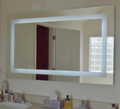 Espelho com Luz de Led e faixa de Jato de Areia