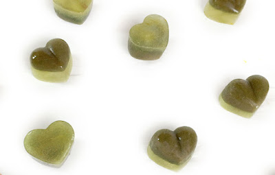 Barking Obito Skippy Pop dog treats frozen as green icy hearts