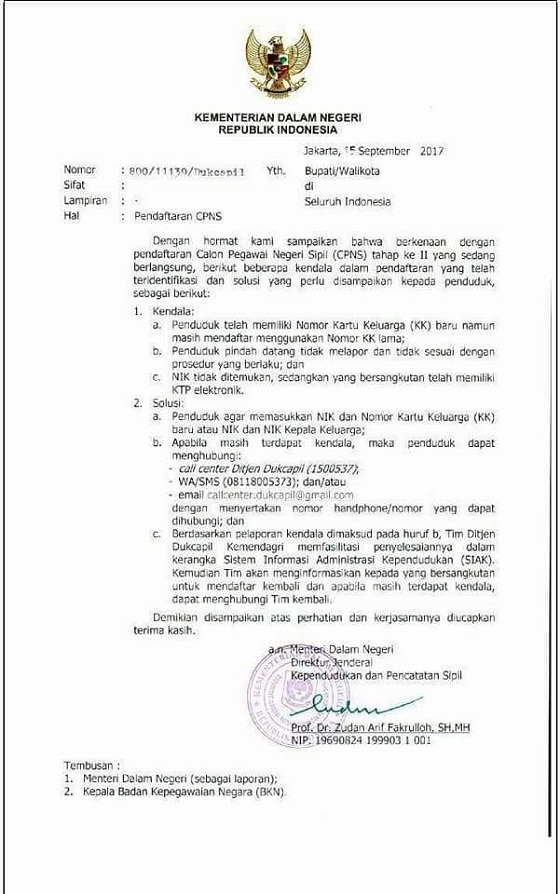 Surat Kemendagri Nomor 800/11139/Dukcapil Tanggal 15 September 2017, Info Penting Terkait Kendala dan Solusi Pendaftaran CPNS