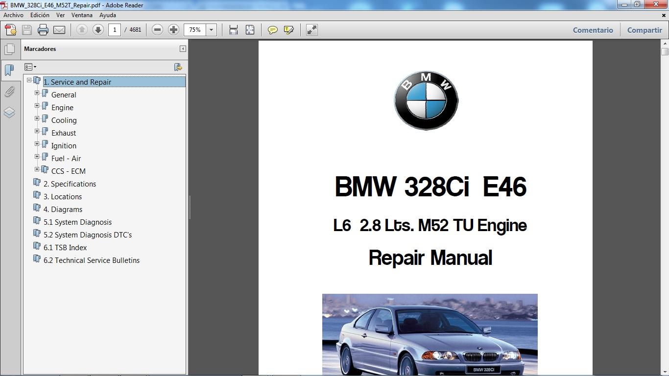Ofrecemos el Manual de Taller del modelo BMW 328Ci chassis E46 motor M52Tu  V6 3.0 lts. Tiene 4.680 páginas en formato pdf.
