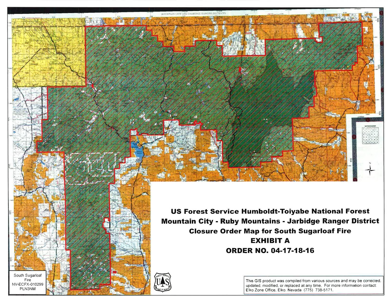 clarification on the humboldt toiyabe national forest s area closure for the south sugarloaf fire