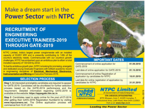 NTPC Recruitment through GATE 2019