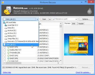 Recuva portable screenshot