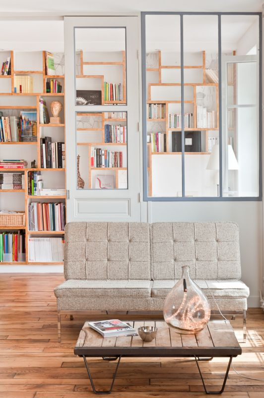 Home Library Uneven Shelving