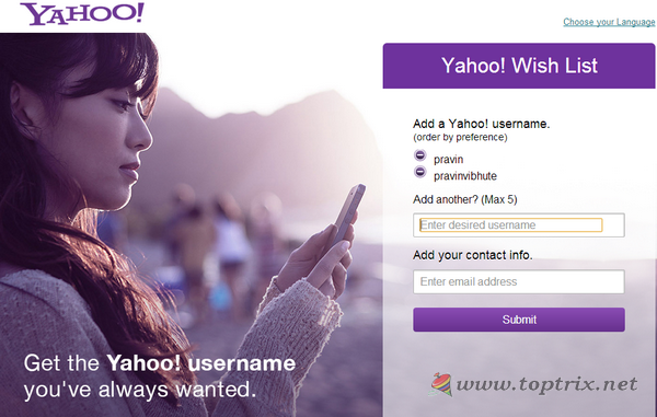 yahoo-user-name-ID-claim-wishlist