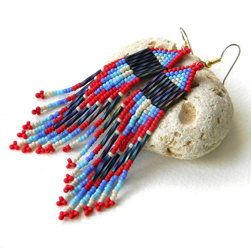 Яркие серьги из бисера - этно-стиль - украшения ручной работы