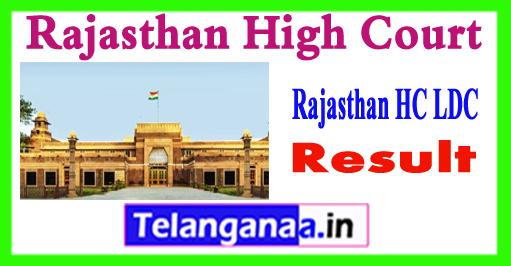 Rajasthan HC LDC Gen OBC SC ST Cutoff 2018 Merit List Result