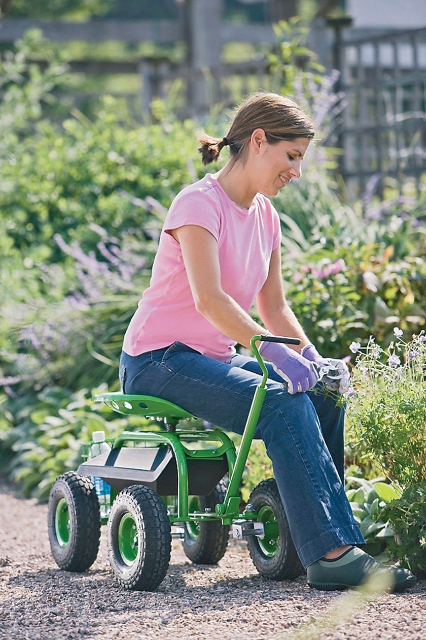 Heavy Duty Rolling Garden Cart With Seat Ease The Knees