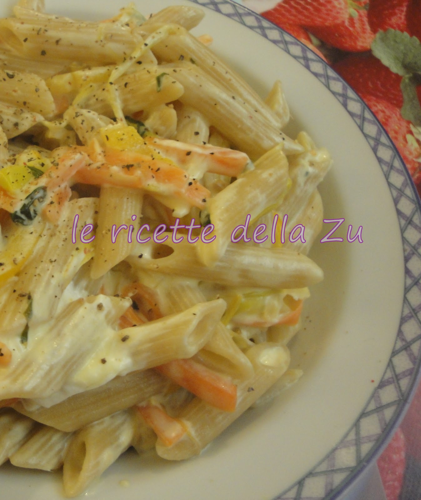le ricette della zu penne integrali con verdure e