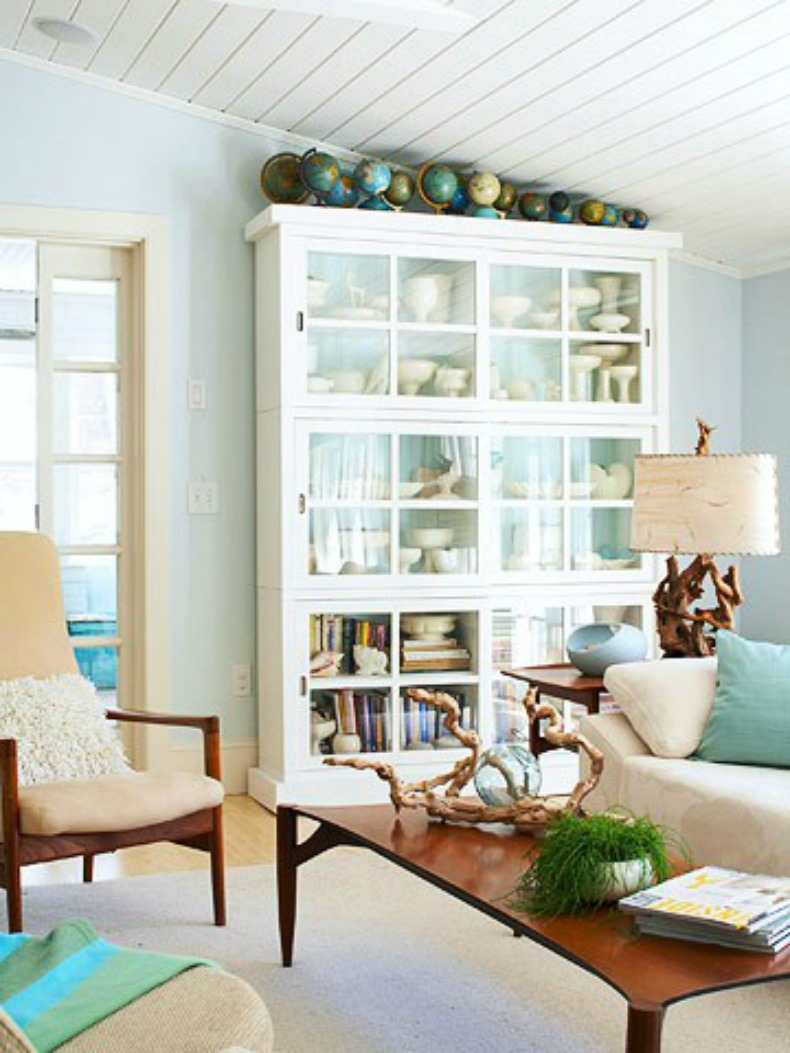 Coastal living room with sea glass and driftwood