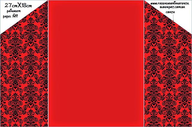 Damasco Negro En Fondo Rojo: Invitaciones Para Imprimir