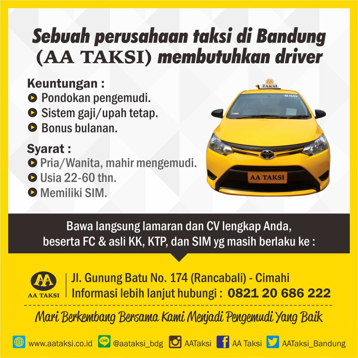 Lowongan Kerja Driver AA Taksi Bandung Oktober 2016