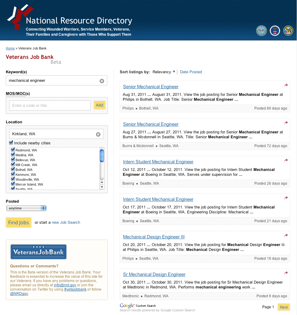 official google blog powering a new job search engine for we have been working the u s department of veterans affairs to provide a customized job search engine for the nrd using google custom search