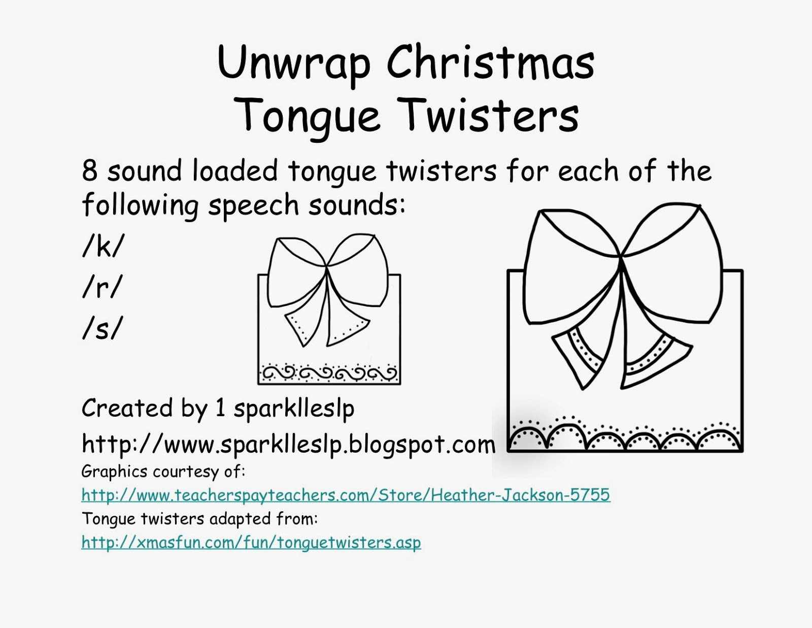 Christmas Themed Speech Therapy Materials