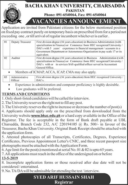 Bacha Khan University 09 May 2019 Jobs