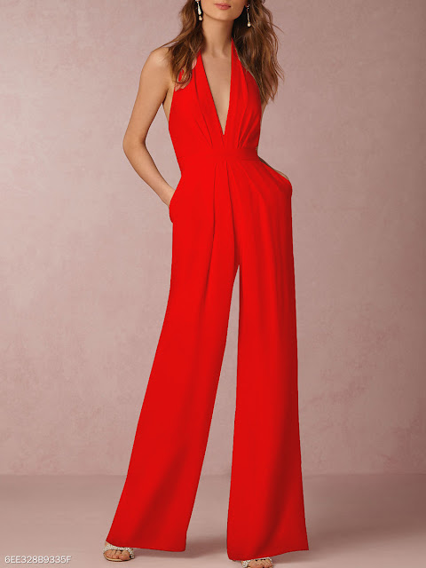 Halter Pocket Plain Wide-Leg Jumpsuit - Red