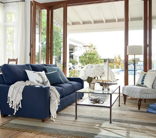 Nautical Living Room with Navy Blue Sofa from Pottery Barn