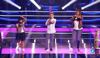 Ana, Roma y David cantan Hoy tengo ganas de Ti de Miguel Gallardo . Últimas Batallas La Voz Kids 2017