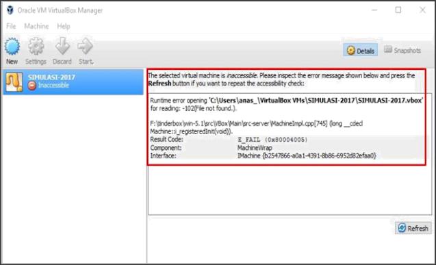Terjadi Error Inaccessible di mesin virtual ANBK ke dua