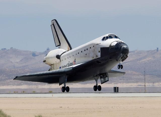 Space Shuttle Atlantis On Landing Phase