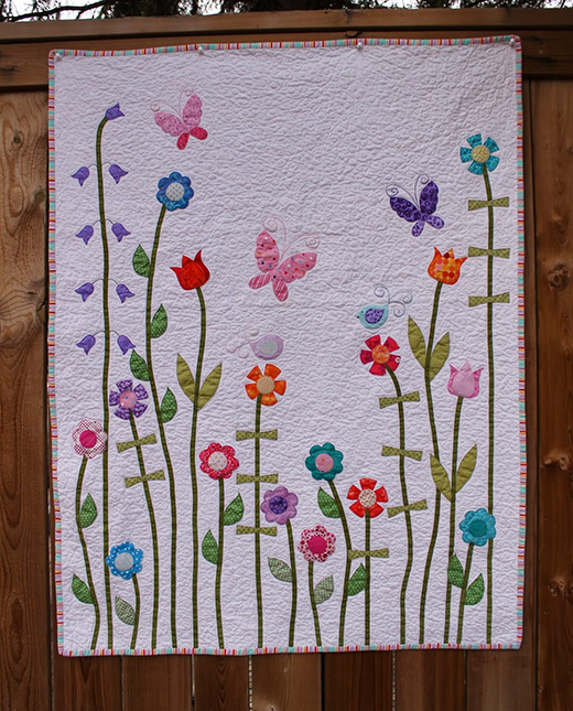 Baby Girl Flower Applique Quilt Free Pattern