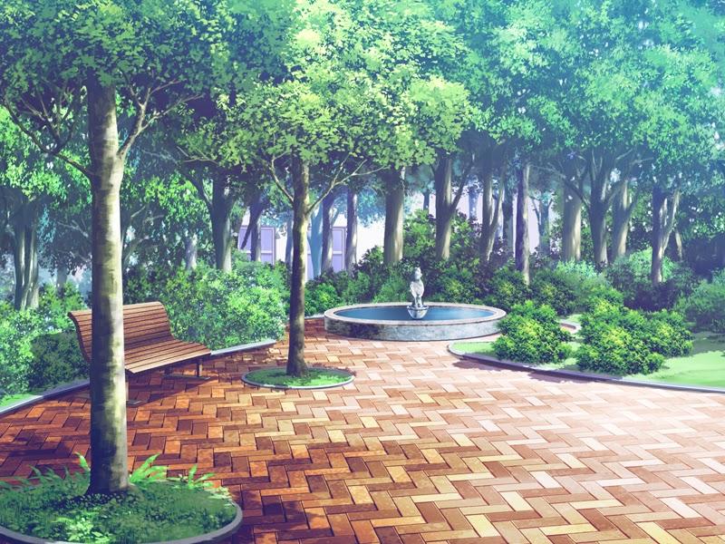 anime landscape park anime background