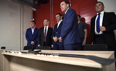 Vladimir Putin visited class for training young hockey players.